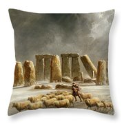 Stonehenge In Winter  Throw Pillow by Walter Williams