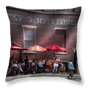 Storefront - Bastile Day in Frenchtown Throw Pillow by Mike Savad