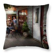 Storefront - Frenchtown Nj - At A Quaint Bistro  Throw Pillow by Mike Savad