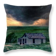 Storm over Abandoned House Throw Pillow by Jill Battaglia
