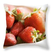 Strawberries Throw Pillow by Kim Fearheiley