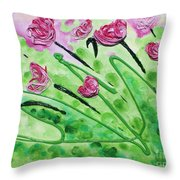 Stringy Tulips Throw Pillow by Ruth Collis