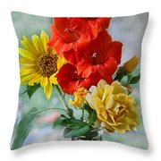 Summer Floral Throw Pillow by Debbie Portwood