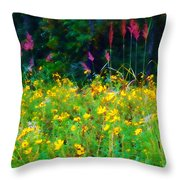 Sunflowers And Grasses Throw Pillow by Judi Bagwell