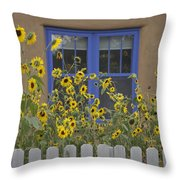 Sunflowers Bloom In A Garden Throw Pillow by Ralph Lee Hopkins
