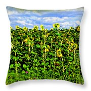 Sunflowers In France Throw Pillow by Joan  Minchak