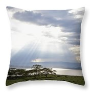 Sunlight Shines Down Through The Clouds Throw Pillow by David DuChemin