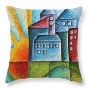 Sunny Town Throw Pillow by Jutta Maria Pusl