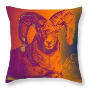 Sunrise Ram Throw Pillow by Mayhem Mediums