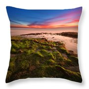 Sunset At Swamis Beach Throw Pillow by Larry Marshall