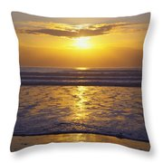 Sunset Over The Pacific Ocean Along The Throw Pillow by Craig Tuttle