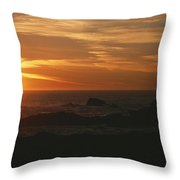 Sunset Over The Pacific Ocean Throw Pillow by Todd Gipstein