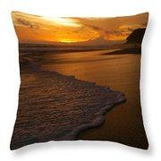 Sunset Surf Playa Hermosa Costa Rica Throw Pillow by Michelle Wiarda