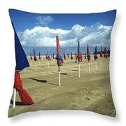 Sunshade On The Beach. Deauville. Normandy Throw Pillow by Bernard Jaubert