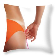Suntanned Woman Showing Tan Lines Throw Pillow by Oleksiy Maksymenko