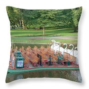 Swan Boat In Boston Public Garden Throw Pillow by Clarence Holmes