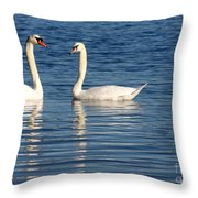 Swan Mates Throw Pillow by Sabrina L Ryan