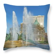 Swann Fountain At Logan's Circle Throw Pillow by John Greim