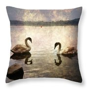 swans on Lake Varese in Italy Throw Pillow by Joana Kruse
