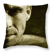 Swimmer In Water Throw Pillow by Sandra Cunningham
