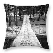 Swinging Cable Foot Bridge Throw Pillow by John Stephens