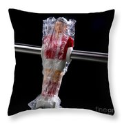 Tabletop Soccer Figurine Throw Pillow by Bernard Jaubert