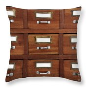 Tagged Drawers Throw Pillow by Carlos Caetano