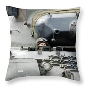 Tank Driver Of A Belgian Leopard 1a5 Throw Pillow by Luc De Jaeger