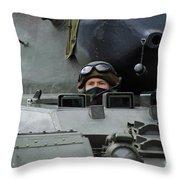Tank Driver Of A Leopard 1a5 Mbt Throw Pillow by Luc De Jaeger