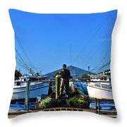 Tarpon Springs Waterfront Throw Pillow by Susanne Van Hulst