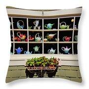 Tea Pots In Window Throw Pillow by Garry Gay