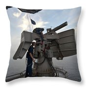 Technicians Performs Maintenance Throw Pillow by Stocktrek Images