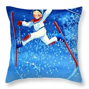 The Aerial Skier 16 Throw Pillow by Hanne Lore Koehler