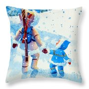 The Aerial Skier - 2 Throw Pillow by Hanne Lore Koehler