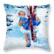 The Aerial Skier - 3 Throw Pillow by Hanne Lore Koehler