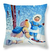 The Aerial Skier - 5 Throw Pillow by Hanne Lore Koehler