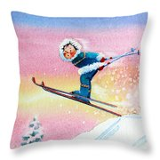 The Aerial Skier - 7 Throw Pillow by Hanne Lore Koehler