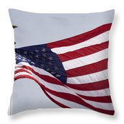 The American Flag Throw Pillow by Tim Laman