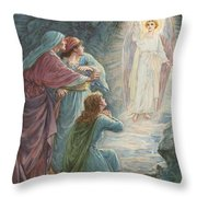 The Appearance Of The Angel Throw Pillow by Ambrose Dudley