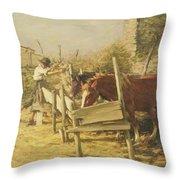 The Appian Way Throw Pillow by Henry Herbert La Thangue