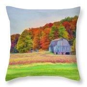 The Barn in Autumn Throw Pillow by Michael Garyet
