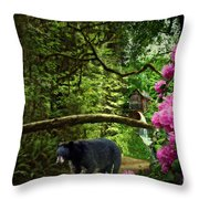The Bear Went Over the Mountain Throw Pillow by Lianne Schneider