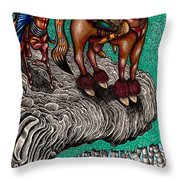 The Beast And Nahamanides In Shitaki Forest Throw Pillow by Al Goldfarb