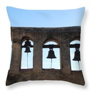 The Bells At The San Juan Capistrano Mission Throw Pillow by Pat Cannon