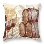 The Best Vintage Wine Throw Pillow by Cheryl Young