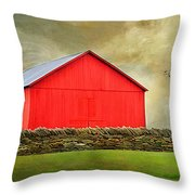 The Big Red Barn Throw Pillow by Darren Fisher