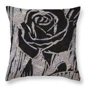The Black Rose Throw Pillow by Marita McVeigh