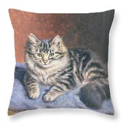 The Blue Cushion Throw Pillow by Horatio Henry Couldery