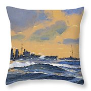The British Cruisers Hms Exeter And Hms York Throw Pillow by John S Smith