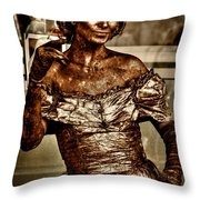 The Bronze Lady in Pike Place Market Throw Pillow by David Patterson